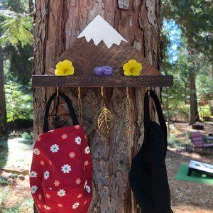 Wood handmade Mountain hook organizer